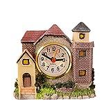 Villa Castle Alarm Clock Antiquing Roman Times Castle Exquisite Resin House Castle Creative Bedside Waking up Clock Crafts Leisure Household Desktop Ornament 1Pc