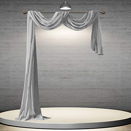 DONREN Grey Window Scarf for Background - Luxury Soft Sheer Scarf Add to Window Curtains for Enhanced Effect (52 by 216 Inch,1 Pack)