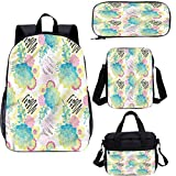 Succulent 38,1 cm zaino scuola & Lunch Bag Set,Flourish Foliage Summer 4 in 1 Zaino Set