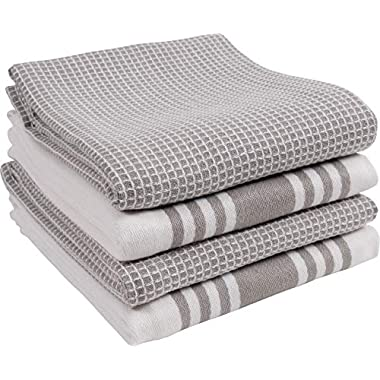 KAF Home Kitchen Towels, Set of 4 Absorbent, Durable and Soft Towels | Perfect for Kitchen Messes and Drying Dishes, 18 x 28 – Inches, Drizzle
