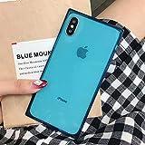 HSXQQL Handyhülle Tropfensichere weiche Hülle für iPhone XS MAX XR X 6 6S Plus Durchsichtige TPU-Silikonabdeckung für iPhone X 7 8 Plus, blau, für iPhone XR