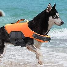 ThinkPet Dog Life Jacket, Reflective Lifesaver with Rescue Handle, Adjustable Floating Vest,High Buoyancy Aid Dog Saver Medium Orange
