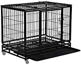 Dog Crate Dog Cage Dog Kennel for Large Dogs Heavy Duty 36 Inches Pet Playpen for Training Indoor Outdoor with Plastic Tray Double Doors & Locks Design