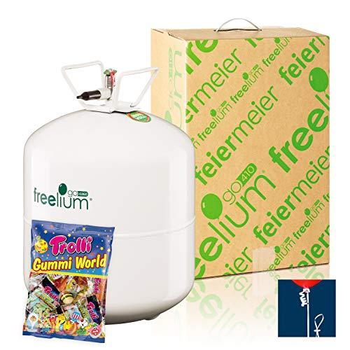 Freelium® go 410 - Helium / Ballongas to Go Flasche mit satten 0,42 m³ / 420 Liter 50 Ballonbänder Trolli Gummi World 230g für Hochzeit Valentinstag Trauung Taufe Kindergeburstag EU Ware