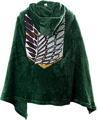 Attack on Titan Plush Cloak AOT The Wings of Freedom Flannel Blanket Cape Anime Attack on Titan Manga Cosplay Costume (Green, XL)