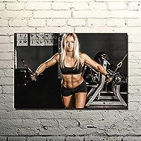 ワークアウトポスターホームジムの装飾動機付けの壁アートパネルセクシーな女性のボディービルのポスターセクシーなポスターフィットネスポスターキャンバスジムの壁のポスター50x70cm /フレームなしI26