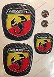 Logo Grande Punto Anteriore, Posteriore + Volante + 2 Stemmi per Portachiavi. per Cofano e Baule. Adesivi resinati, Effetto 3D. Fregi Scorpione, Sfondo Carbonio