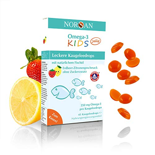 NORSAN Omega-3 KIDS Jelly zum Kauen fruchtige Kaugeleedrops mit Omega-3 für Kinder I 45 Stück