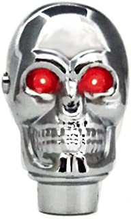 TESWNE Silver Chrome Skull Gear Shift Knob Manual Stick Shift Knobs - LED Light Red Eyes