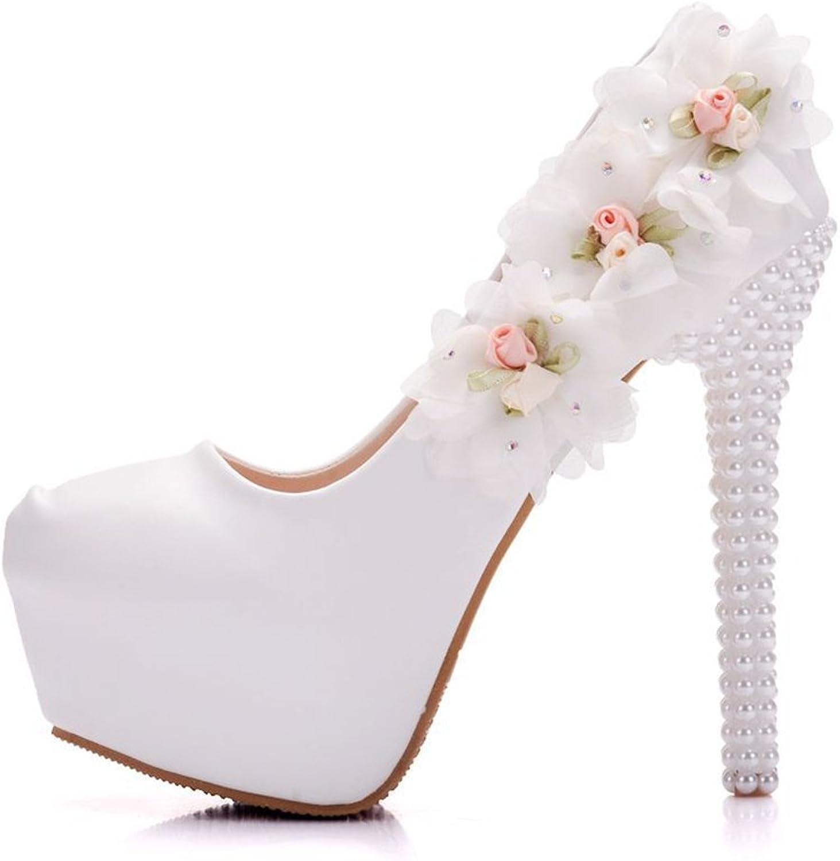 Eleganceoo Women's Lace Flower Pearls Closed Toes Heel Wedding shoes