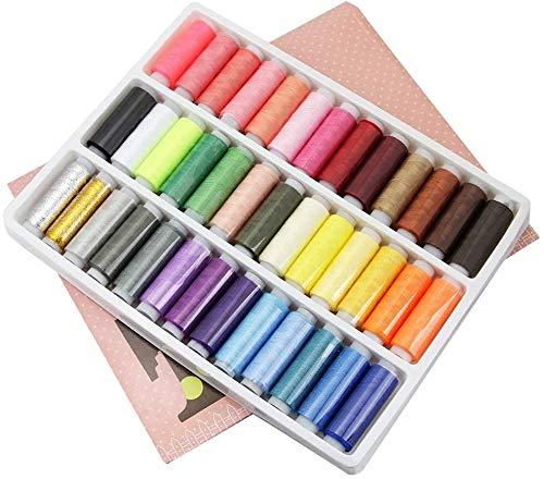 YIQI Hilo de Coser (39 Colores Surtidos), Hilo Fuerte para Coser a Mano en máquinas de Coser, Juego avanzado de Carrete de Hilo de poliéster, Suministros de Costura Coloridos