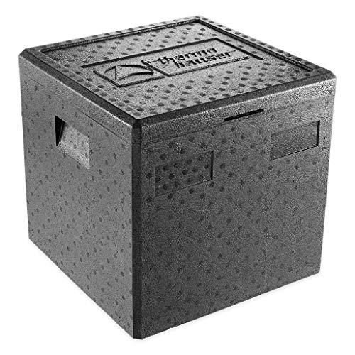 thermohauser EPP-Thermobox Pizza schwarz mit Deckel - 41,5 Liter - 41 x 41 x 40 cm - Pizzabox für Lieferservice