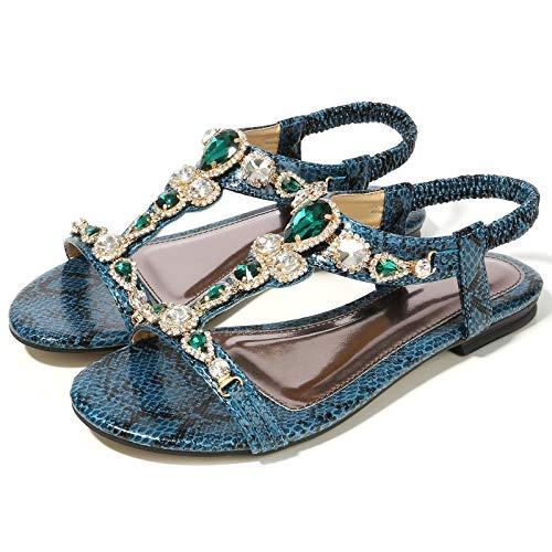 JXILY Damen Sandalen Böhmische Strass Sandalen Perlen Schlangenmuster Flache Schuhe Freizeitschuhe Plus Size 35-45,Grün,43