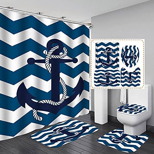ZHEXI Colorido piña gafas de sol de tela de poliéster cortina de ducha antideslizante alfombra de baño cubierta de inodoro alfombra hogar baño decoración conjunto