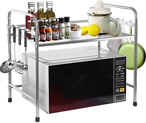 Soporte para horno de microondas - Soporte para cacerola -Organizador de estantería de cocina con 8 Ganchos - 58 * 36 * 51.5 cm - acero inoxidable