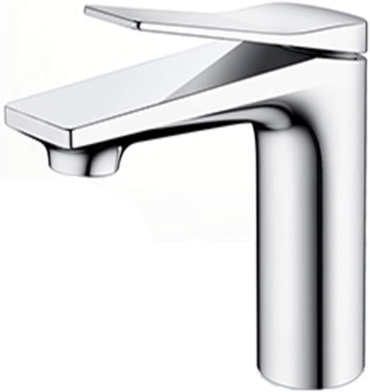 JLY Waschbecken Badezimmer Waschbecken Waschbecken Wasserhahn Einfachsteuerung Silber Hei Kaltwasser Keramik Ventileinsatz Kupfergehuse,Metallic