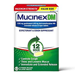 Cough Suppressant and Expectorant, Mucinex DM Maximum Strength 12 Hour Tablets, 42ct, 1200 mg Guaife