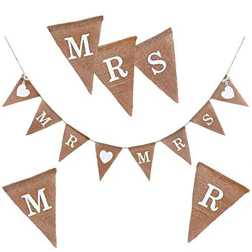 Oblique-Unique® Mr & Mrs Jute Girlande Hochzeit Banner