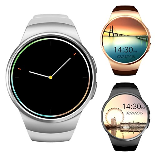 Bluetooth Smart Watch Phone, tondo 3,3cm IPS touch screen impermeabile Smartwatch telefono con SIM Card/TF Card, sleep monitor, cardiofrequenzimetro e pedometro per dispositivi iOS e Android