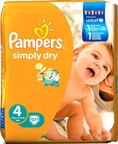 Pampers Windeln Simply Dry, Gr. 4 maxi 7-18 kg, 1er Pack (1 x 37 Stück)