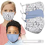 3 Pcs Children's Reusable Cloth Face Masks Washable Adjustable Earloops Cotton Face Cover with 5 Layers and 1 x Hand Sanitizer for MoMo The Mask People (1 Blue+2 Animal Print)