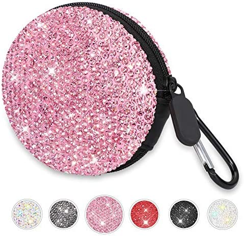 Otostar Earphone Case Bling Crystal Portable Headphone Cases with Carabiner Earbud Case Protective product image