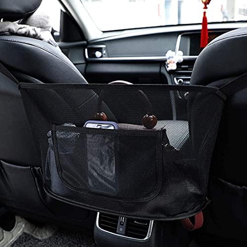 Bolsa de malla para coche, organizador de respaldo de asiento para guardar entre asientos de coche, bolsos, aperitivos, carteras, bebidas, teléfonos móviles - negro