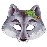 LeGran Maske Wolf 21,6 x 19,5 cm, mit Gummiband, Set mit 5 Stück, aus Karton