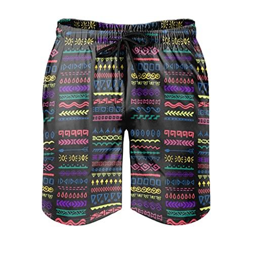 kikomia Bañador para hombre, multicolor, étnico, tatuaje, tradicional, ropa de baño de playa, con bolsillos