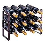 Étagère à vin empilable à 3 niveaux - Pour 12 bouteilles - Métal (bronze)