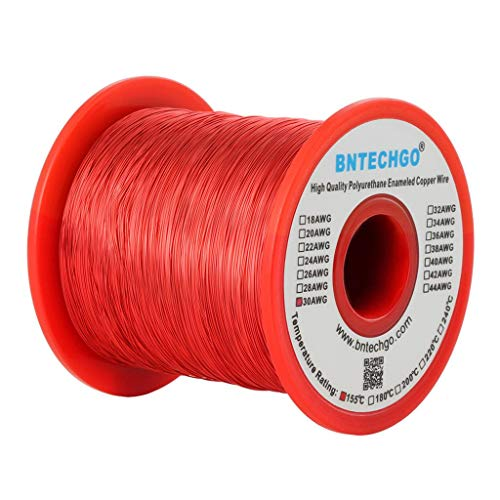 BNTECHGO 30 AWG Magnet Wire - Enameled Copper Wire - Enameled Magnet Winding Wire - 1.0 lb - 0.0098'...