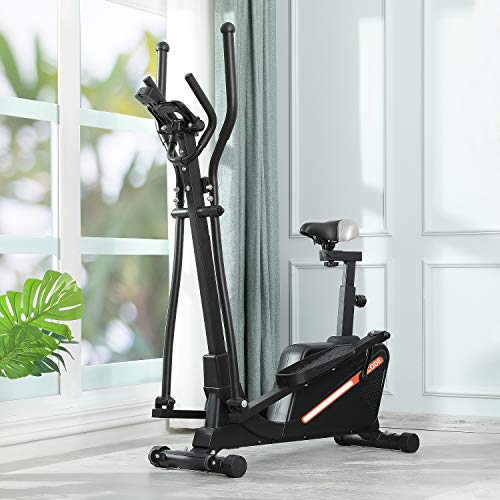 Kicode Magnetic Elliptical Machine Trainer for Home use, Cardio Fitness Equipment with Digital Monitor and 16 Level Adjustable Magnetic Resistance(with seat)