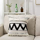 blue page Morocco Tufted Boho Throw Pillow Covers 18X18 Inch - Woven Bohemian Pillow Cases, Accent Pillows for Bed, Modern Tribal Textured Decorative Square Cushion Cover ONLY (Black Off White)