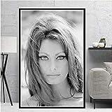 Poster Druckt Ölgemälde Sophia Loren Schwarz Weiß