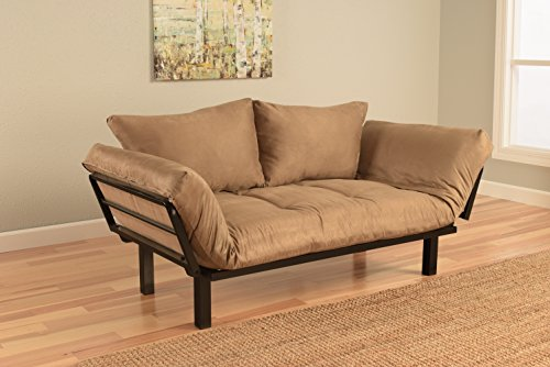 Bright Day Twin Size Bed Futon Metal Frame, Many Color Fabrics to Choose (Peat)