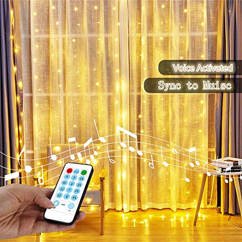 String Lights Curtain,USB Powered Fairy Curtain Lights for Bedroom with Timer,Sound Activated Function Can Sync with Any Voice (Warm White,7.9Ft x 5.9Ft)