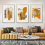 Pinturas de lienzo geométricas naranjas y doradas modernas carteles e impresiones artísticos de pared abstractos imágenes decoración del hogar sin marco-30x40cmx3