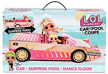 LOL Surprise Car Pool Coupe with Exclusive Doll Surprise Pool and Dance Floor - Toy Car Playset with Black Light Headlight and Play Set Accessories - Great Birthday Gift for Kids Ages 6-8 Years