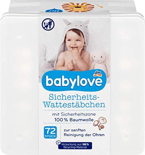 babylove Sicherheits-Wattestäbchen, 1 Packung mit 72 Stück