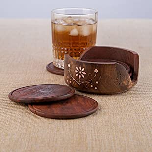 Rusticity Cool Wood Coaster Set of 6 with Lotus Bowl Holder for beer and other drinks | Handmade | (4x4 in)