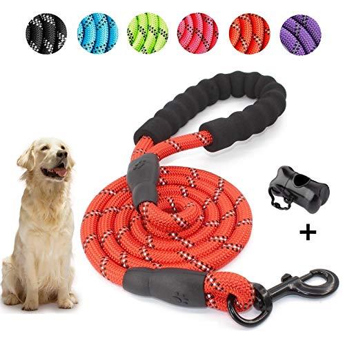 5 FT Starke Hundeleine mit Bequemen Gepolsterten Griff, Starke Reflexnähte der Trainingsleine für Sicherheit Nachts, eignet für Alle Größe Hunde (Rot)
