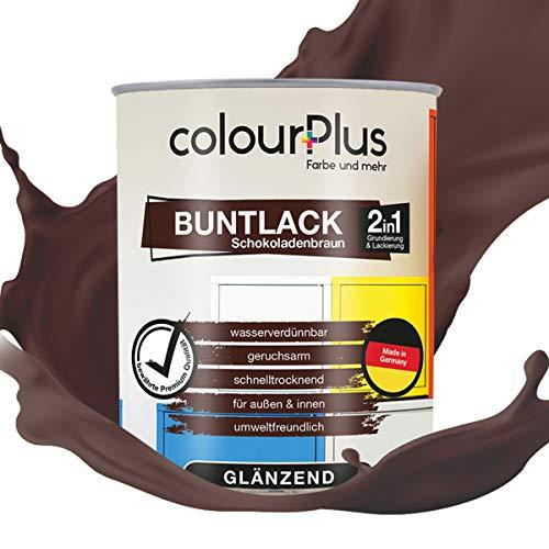 colourPlus® 2in1 Buntlack (750ml, RAL 8017 Schokoladenbraun) glänzender Acryllack - Lack für Kinderspielzeug - Farbe für Holz - Holzfarbe Innen - Made in Germany