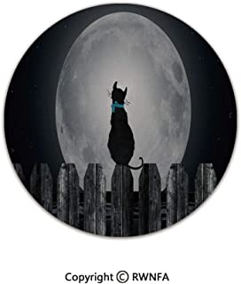 Home Decor Printed Beautiful Backing Machine Washable Carpet,Silhouette of a Cat Looking to Full Moon While Sitting on The Fence Animal Decorative 3' Diameter Black Pale Grey Blue,Fluffy Area Rugs