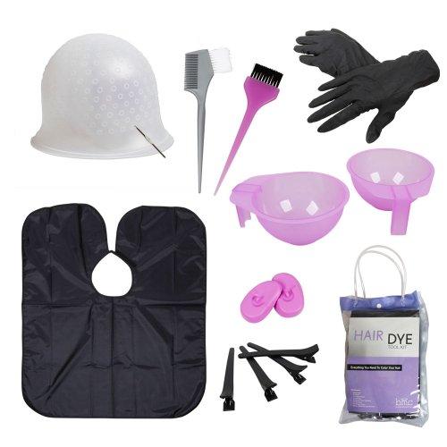 BMC Hair Dye Coloring DIY Beauty Salon Tool Kit- Highlighting Cap, Hook, Long Brush, Bowl, Clip, Cape
