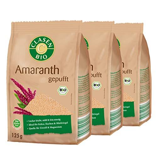 3x CLASEN BIO Amaranth gepufft, glutenfrei und vegan, ideal für Müslis - 125 g