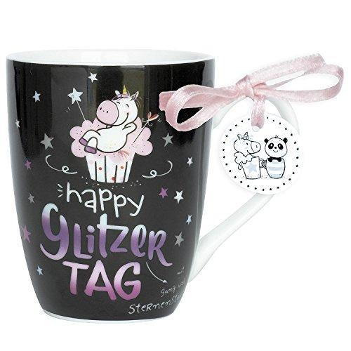 Hope und Gloria 45349 Tee-Tasse Einhorn Motiv Happy Glitzer Tag, Porzellan-Tasse, 40 cl, mit Geschenk-Anhänger, Schwarz