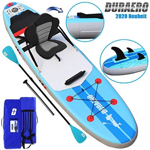 Tabla Hinchable Paddle Surf Sup Paddel Surf Bomba,  Asiento de Kayak,  Almohadilla integrada,  Aleta Desprendible,  Doble remo ajustable,  Kit de Reparación,  305 x 76 x 15 cm,  hasta 110 kg