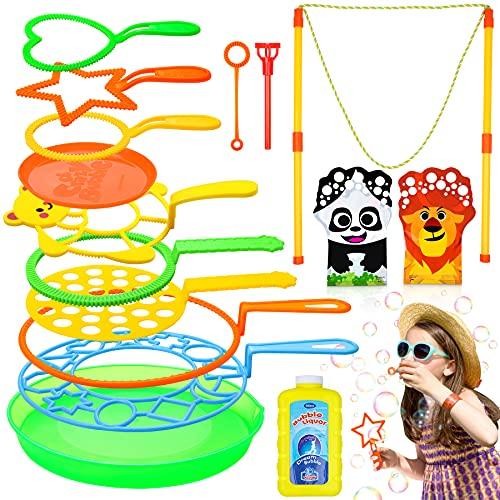 Flyfun 16 PCS Juego de Pompas de Jabón, Varita de Burbuja, Maquina de Burbujas con Gigante Pompas de Jabón, Burbujas de Jabón Kit Creativo Bubbles Maker para Niños Regalo Verano Fiestas y Cumpleaños