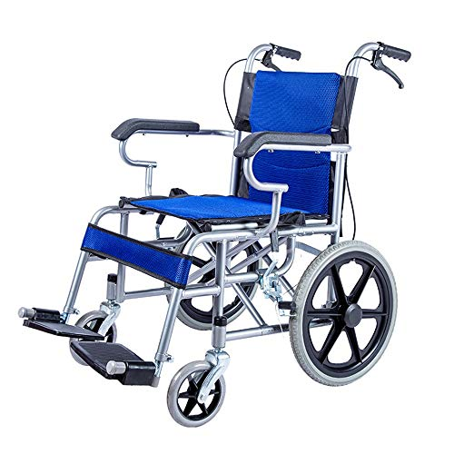 QiHaoHeji Transport Chair 16 Inch Wheelchair Non-foldable Elderly Children Wheelchair Lightweight Manual Wheelchair (Color : Blue, Size : ONE SIZE)