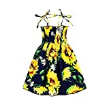 Kids Toddler Baby Girls Summer Dress Outfits Ruffle Strap Sunflower Print Tutu Skirt Sunsuit Beachwear Clothes Set (Navy Sunflower, 3-4 Years)